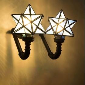 レトロティファニースタイルの壁取り付け用燭台照明、研究ラックライト用の創造的な産業風の壁ライトロフト人格カフェバー錬鉄製の壁ライト,F