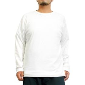 長袖Tシャツ メンズ 大きいサイズ 無地 ボーダー スムース クルーネック カットソー L ホワイト