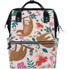 デイジーピンクの花おむつ バッグ バックパック ママバッグ カジュアル 軽量 大容量 トラベル マミー用