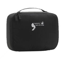 メイクボックス 化粧ポーチ メイクブラシバッグ 収納ケース スーツケース・トラベルバッグ 化粧 バッグ メイクブラシ 化粧道具 小物入れ 旅行 (ブラック)
