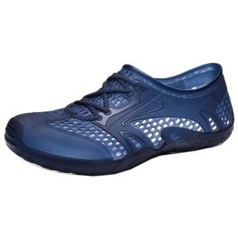 HYH 滑り止め豚のケージの靴メンズ夏の穴の靴カジュアル野生のビーチの靴の潮のブランド海辺のサンダル潮ファッション(青) いい人生 (色 : Blue, Size : US11.5)