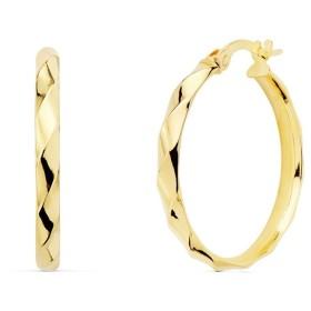 18Kゴールドのイヤリング女性のイヤリング24ミリメートル。半円形のバンドはスティックに近いグロー