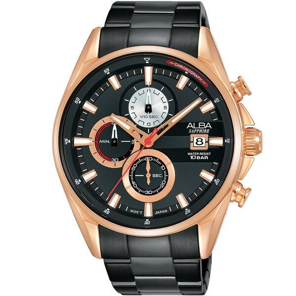 ALBA VD57-X136K(AM3598X1)時尚潮流時腕錶/黑面+玫瑰金43mm