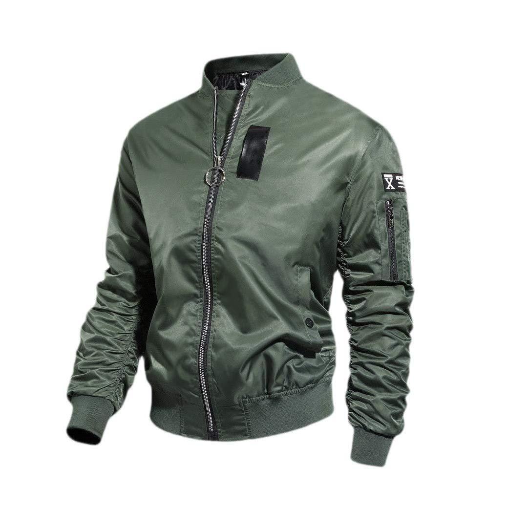 YUNY Mens Casual Baggy Zip Stand Up Collar Short Skinny Jacket Coat Black M