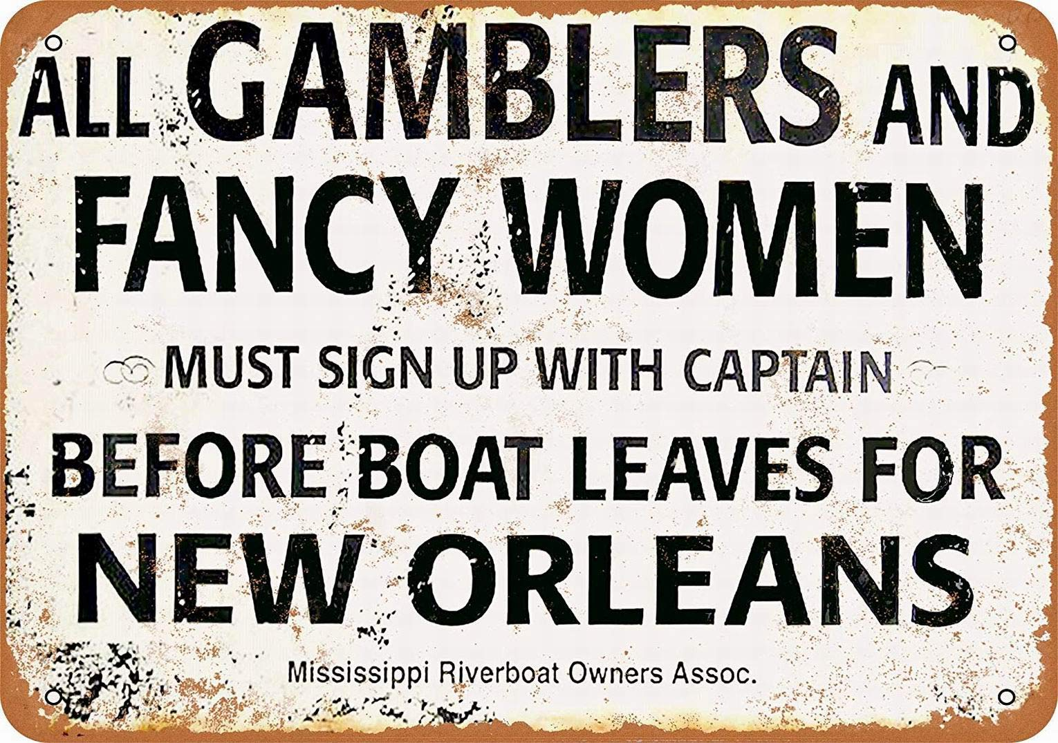 Gamblers and Fancy Women New Orleans Riverboat Vintage L Metal Sign