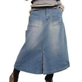 (ケージービー)K.G.B デニムスカート ベイカー ロングスカート レディース ストレッチデニム Aライン M/ブルー
