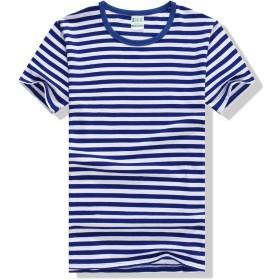 メンズTシャツTシャツ コーマ綿ネイビーシャツ半袖スポーツメンズストライプのTシャツの恋人家族フィット服 (色 : 青, サイズ : M)