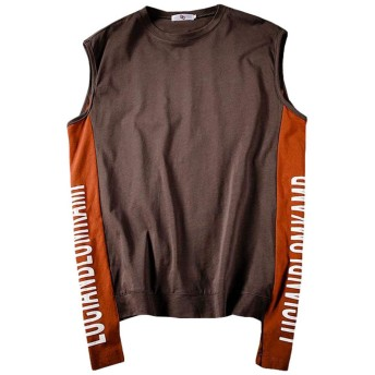 Gergeousタンクトップ メンズ ゆったり ノースリーブ Tシャツ クルーネック 英字 ファッション トップス 袖なし カジュアル tシャツ 大きいサイズ 夏(Wグレー)