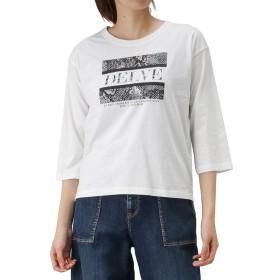 Tシャツ ロンT 7分袖 レディース 七分袖 プリントTシャツ クルーネック ロゴ 90300NM ホワイト:L