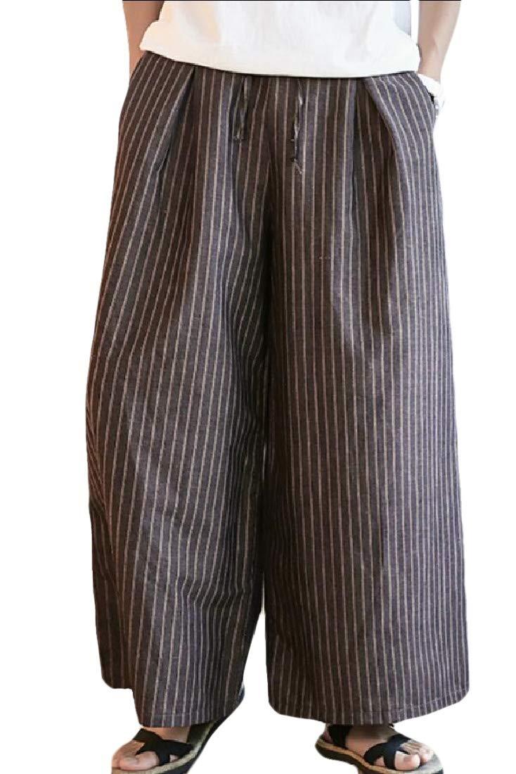 Qiangjinjiu Mens Stretchy Waist Plus-Size Foot Pants Ethnic Trousers Pants