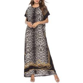 zhbotaolang レディーズ イスラム 教徒 ファッション ヒョウ プラス サイズ パーティー ガウン ブラック XL サイズ