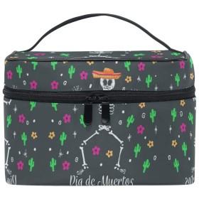 サボテンの花の頭蓋骨化粧品袋オーガナイザージッパー化粧バッグポーチトイレタリーケースガールレディース