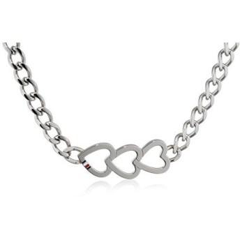 [女性用ペンダント]Tommy Hilfiger Women's Stainless-Steel Open Heart Trio Chain Necklace of Length 41cm[並行輸入品]