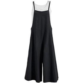 chenshiba-JP レディースファッションプラスサイズオーバーオールデニムコットンハーレムワイド脚ジャンプスーツ Black S