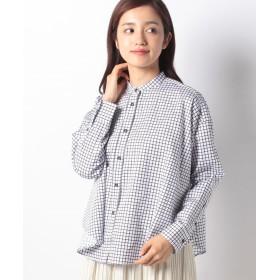 ニーム 先染めチェックバンドカラーシャツ レディース ネイビー 99(F) 【NIMES】