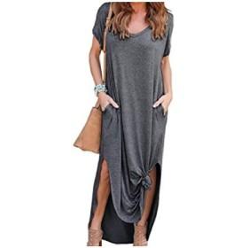 GodeyesW 女性半袖ポケットVネックビッグスイングスリットスタイルビーチドレス Dark Grey S