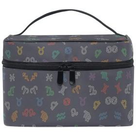 ゾディアックサインプリントアート化粧品袋オーガナイザージッパー化粧バッグポーチトイレタリーケースガールレディース