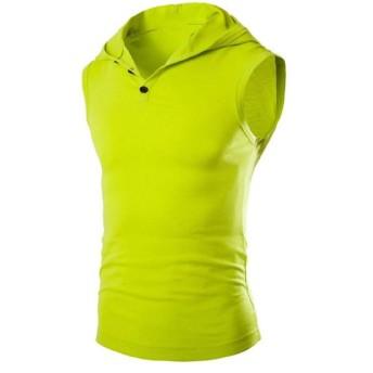 Candiyer 男性のヘンリーネック無地タンクトップの基本的な野生のhoodiesアウターシャツ Fluorescent Green S