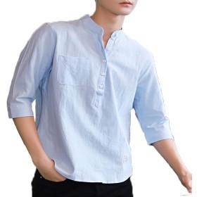 夏 紳士服 半袖 シャツ 新しい 綿 無地 スタンドカラー メンズ シャツ シンプル 柔らかい 五分袖 シャツ
