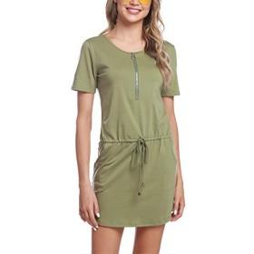 Abollria Women's Summer Bodycon Short Sleeve Work Casual Sport Mini Pencil Dress Green