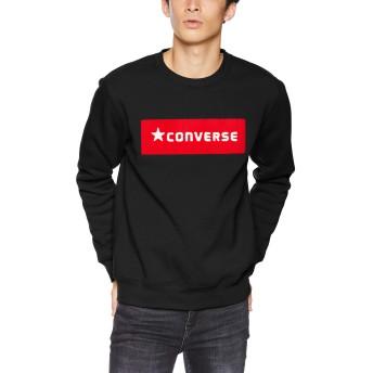 [ウィゴー] WEGO コンバース CONVERSE サガラ ボックス 刺繍 起毛 プル オーバー スウェット M ブラック メンズ