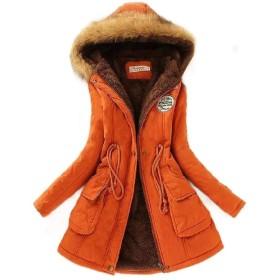 Romancly 女性クラシック秋冬毛皮襟長い袖ウールコート Orange XS