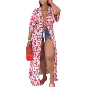 Fly Year-JP 女性シフォンロングシアーカーディガンプリント着物ライトカバーアップ Red XL