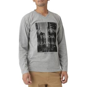 T-GRAPHICS(ティーグラフィックス) プリントVネックTシャツ ロングTシャツ ロンT 長袖 EJ185-MC114 メンズ 杢グレー:L