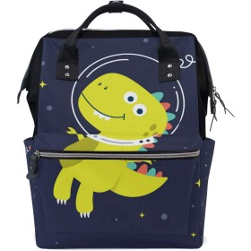 黄色い恐竜スペースおむつ バッグ バックパック ママバッグ カジュアル 軽量 大容量 トラベル マミー用