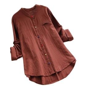 WE&energy 女性の不規則スタンドカラーボタンコットン特大ブラウスシャツ Pattern1 XS