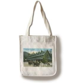 Mount Rainier National Park、ワシントン–Horse Wagons Leaving Paradise Inn Canvas Tote Bag LANT-23846-TT