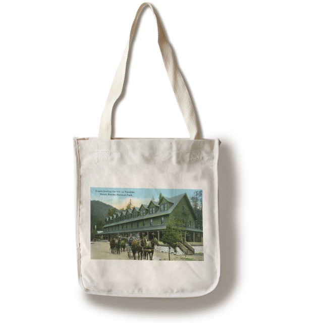 Mount Rainier National Park、ワシントン – Horse Wagons Leaving Paradise Inn Canvas Tote Bag LANT-23846-TT