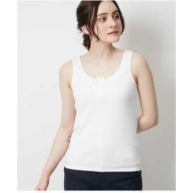 OFUON 【洗濯機で洗える】レースドッキングタンクトップ Tシャツ・カットソー,ホワイト