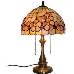 ティファニースタイルテーブルランプ、12インチリッチ花柄色シェルシェードデスクランプ用リビングルームレストランバー装飾照明、110-240ボルト