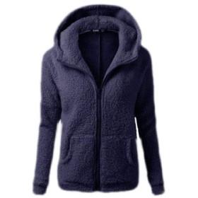 maweisong Women's Casual Hooded Fleece Coat Fuzzy Faux Shearling Zipper Jacket 1 S