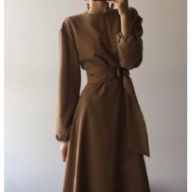 韓国 ファッション レディース ワンピース ロング ハイウエスト ウエストマーク Aライン フレア 無地 長袖 きれいめ 大人可愛い カジュア