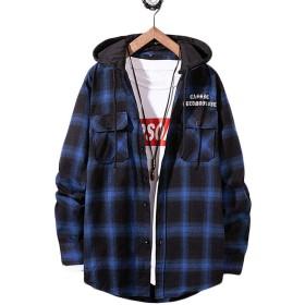 [バンプー] シャツ メンズ チェック柄 ジャケット チェックシャツ フード付き パーカー ボタンアップ アウター 大きいサイズ カジュアル 春 秋 ストリート ファション カッコイイ ブルー2XL