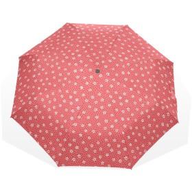 ユキオ(UKIO) 折りたたみ傘 軽量 レディース 花柄 赤い系 おしゃれ 晴雨兼用 自動開閉 傘 日傘 収納ケース付