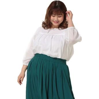 サカゼン No Jean 大きいサイズ レディース バックリボン クルーネック 6分袖 ブラウス ホワイト / 4L