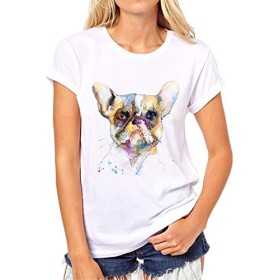 Yizu Tシャツレディースファッションホワイト半袖ルーズカラーかわいい子犬プリント女の子ハーフスリーブTシャツ (色 : Black law, Size : XL)