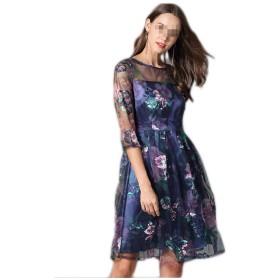 ドレスワンピース レディース,ミニドレス 大型刺繍レースドレス刺繍スパンコール大型スイングスカート6サイズ ドレス スーツ 洋服 (Size : XXXL)