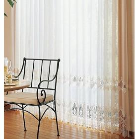 アスワン クラシカルな刺繍が印象的なカーテン カーテン2.5倍ヒダ E6302 幅:150cm ×丈:200cm (2枚組)オーダーカーテン