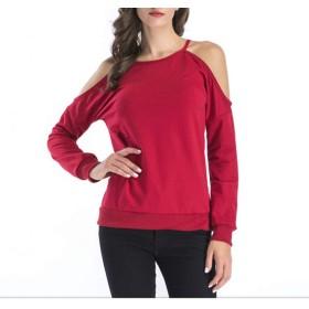 CXUNKK 女性の新しいラウンドカラーオフショルダートップカジュアルロングスリーブTシャツ (Color : Red, Size : XXL)
