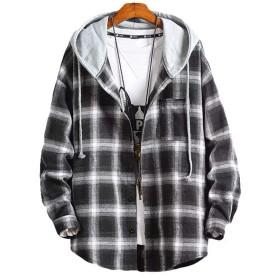 Lasher シャツ チェック柄 ゆったり メンズシャツ 長袖 半袖 カジュアル フード付き パーカー レイヤード 春夏秋 大きいサイズ black 5XL