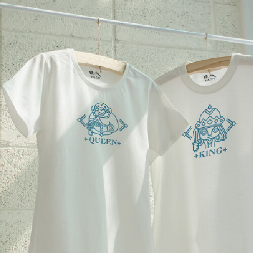 情侶裝國王皇后 純棉t-shirt 插畫家手繪款
