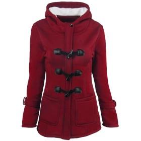 Keaac Womens Pea Coats Winter Outdoor Warm Wool Blend Classic Hoodies Jackets Button Long Outwears 1 XL