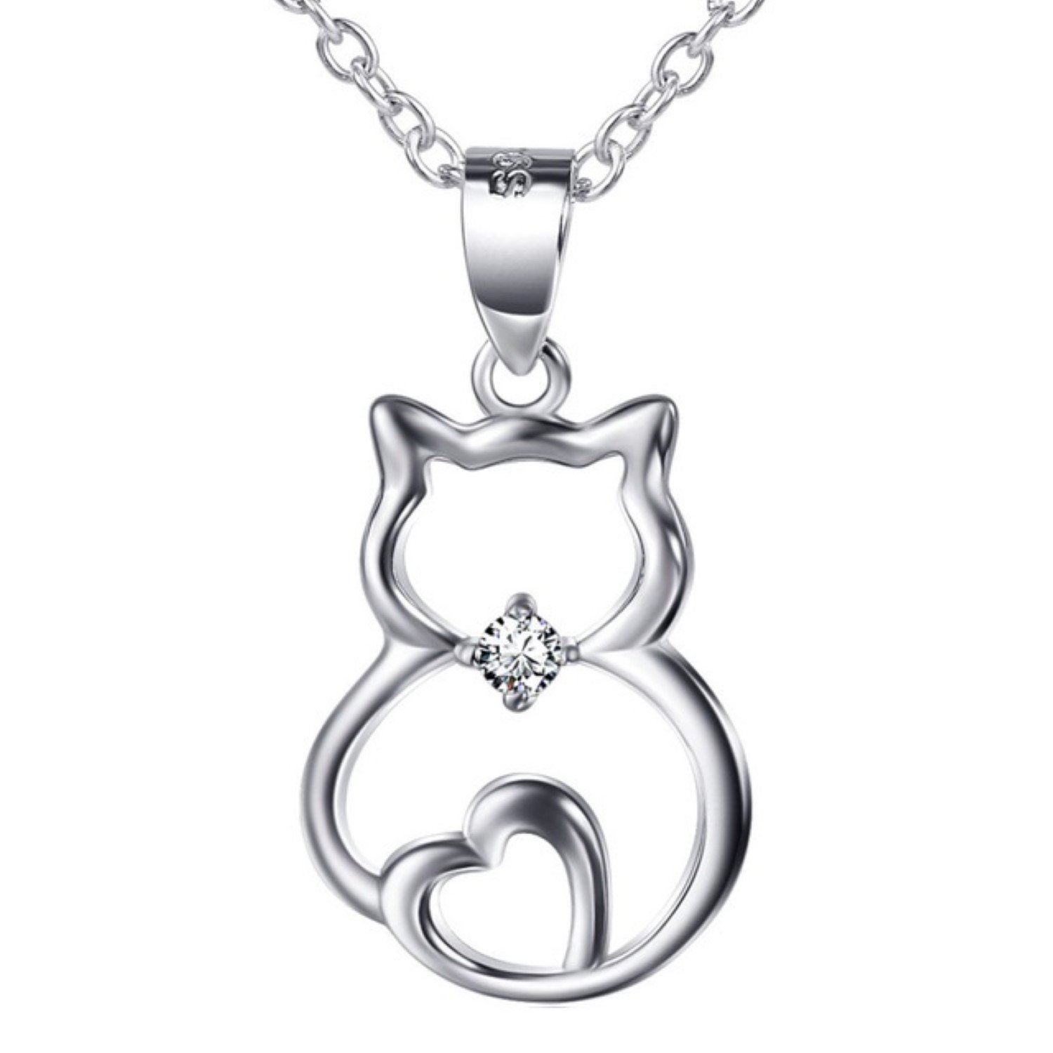 CS-DB Womens Necklaces by Silver Pendant Cute Cat Love Heart Charm Crystal Girls