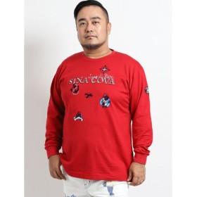 (TAKA-Q/タカキュー)【大きいサイズ】シナコバ/SINA COVA 天竺ワッペン使いクルーネック長袖Tシャツ/メンズ レッド