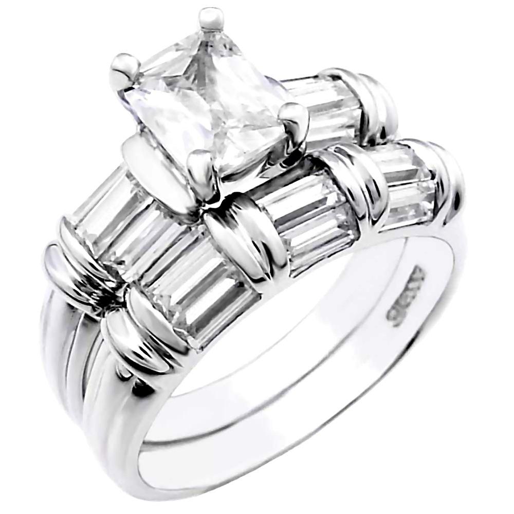 Kara Princess Cut Ice on Fire CZ Womens 2pc Wedding Ring Set Sterling Silver