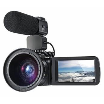 【新品】ORDRO Camcorder 1080P 30FPSフルHDビデオカメラ(Wifi外付けマイクと広角レンズ付き) (Z20)